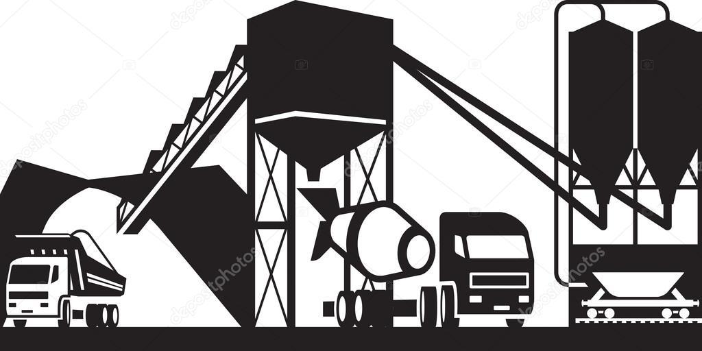 Depositphotos 91010126 Stock Illustration Concrete Plant With Trucks